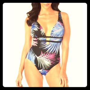 12/14 NWT Swim Solutions One Piece Plunge Swimsuit